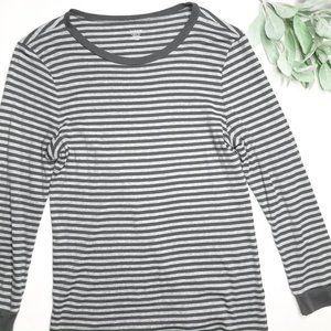 J. CREW   XL gray striped fitted long sleeve tee